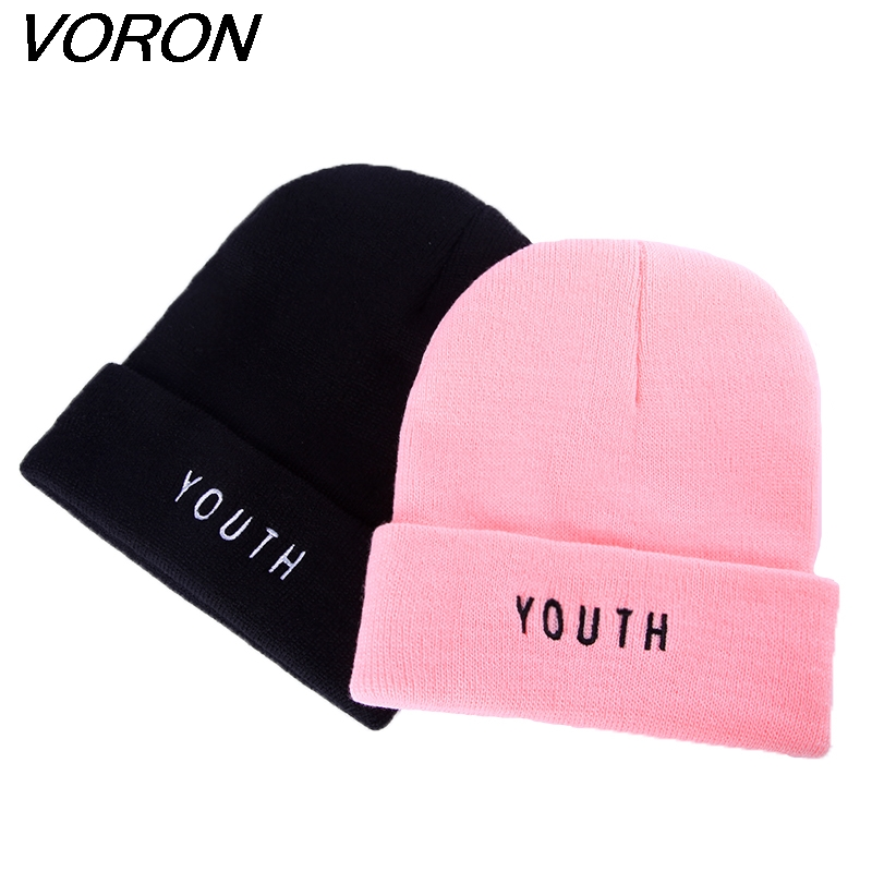VORON  New Women Men Cap Fashion Winter Cotton Warm Caps Youth Letter Black Skullies & Beanies Hat Gorros
