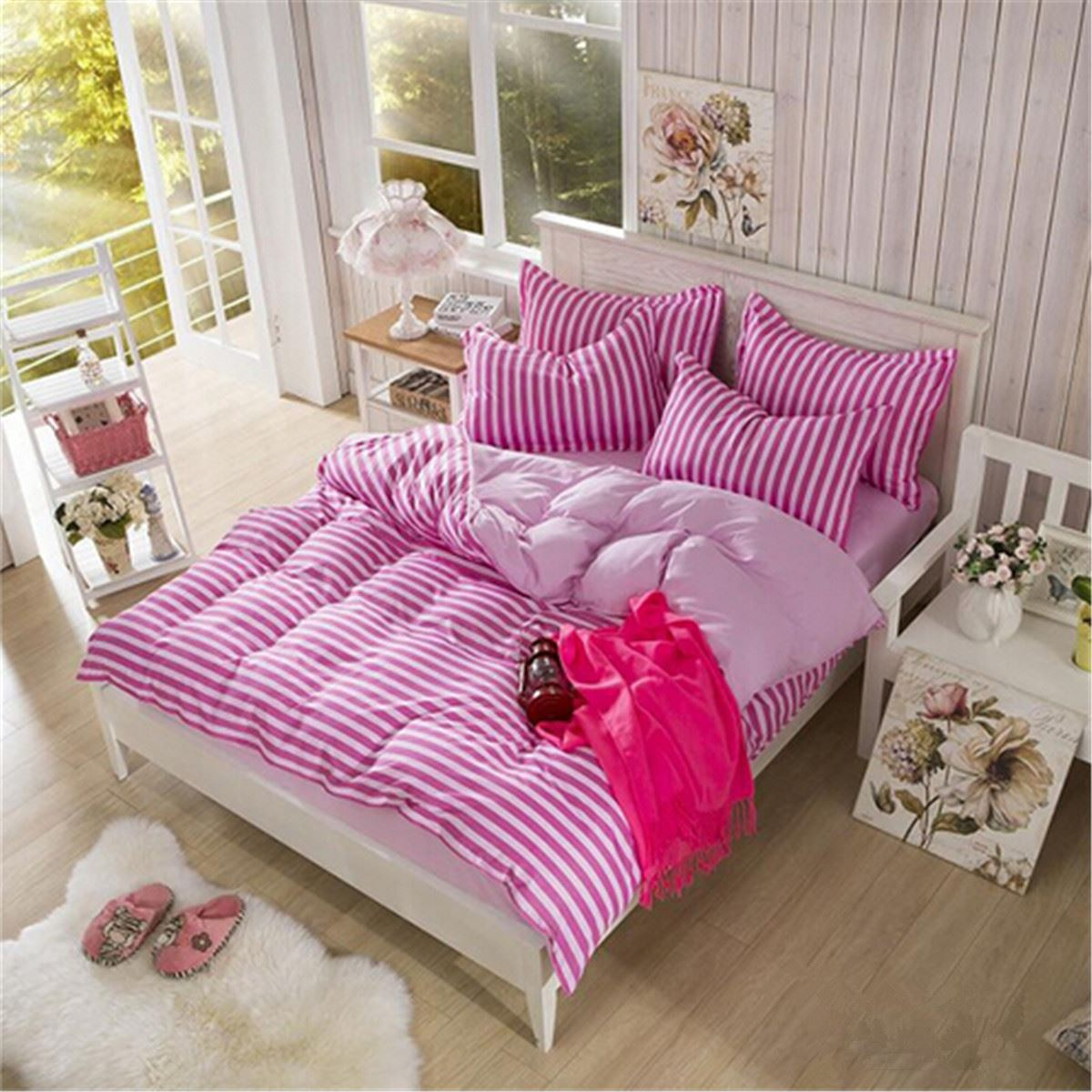 Bed sheet set with quilt - Korean Polyester Fiber Quilt Duvet Cover Pink Stripe Printed Bedding Set Bed Sheet Pillow Case Single