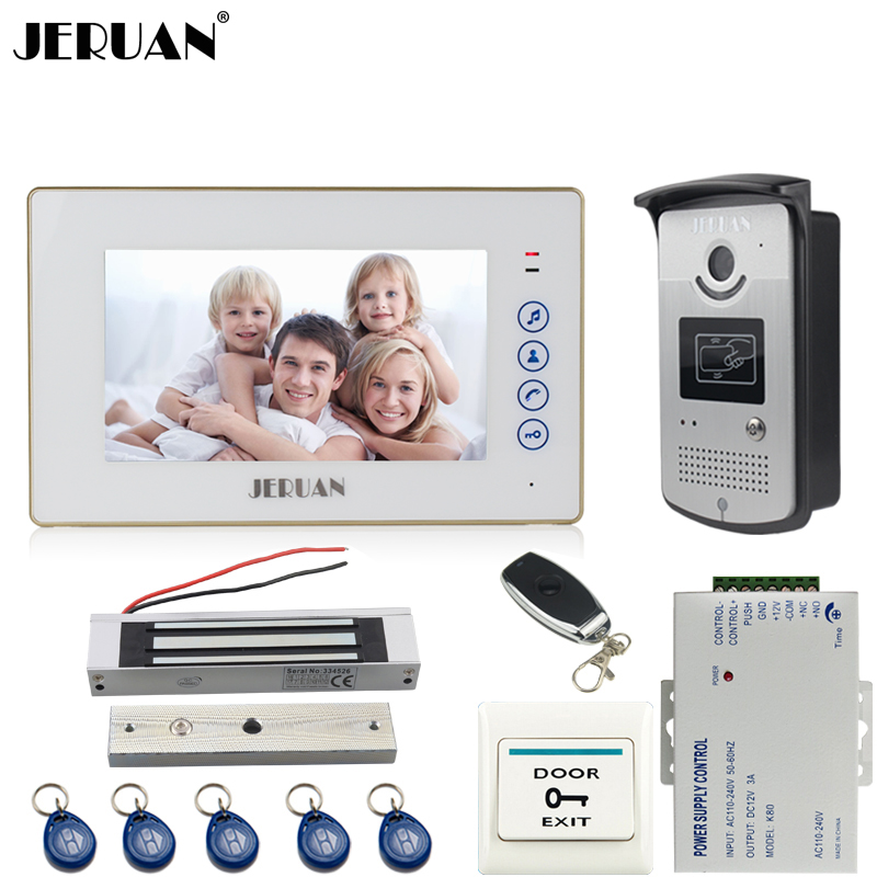 JERUAN Home Wired 7`` TFT color video door phone intercom system kit 700TVL RFID Access IR Night Vision COMS Camera In stock