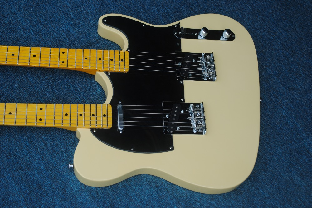 Factory Wholesale Light Yellow Double Neck Electric Guitar,6Strings+6strings TL ,Maple Fingerboard,Offer Customized