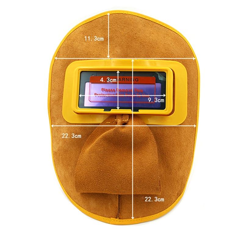 1Pcs Protable Leather Welding Solar Auto Darkening Filter Lens Hood Helmet Mask