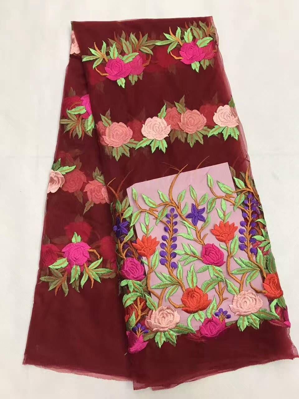 5 Yards/pc En satış şarap fransız net dantel kumaş ve parti için güzel çiçek tasarım afrika örgü dantel elbise LJ5-4