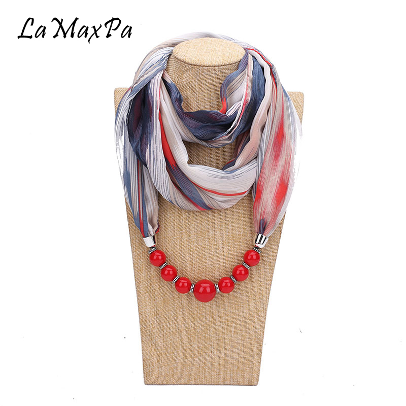 LaMaxPa New Fashion Pendant Scarf For Women Accessories Hijab Femme Elegant Pendants Scarf EP Resin Alloy Pendant Scarf For Girl