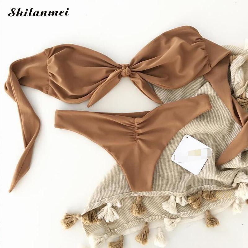 Brown Sexy Swimsuit Girls Cute Bow Knot Bikini Set For Women Push Up off shoulder Swimwear Bathing suit