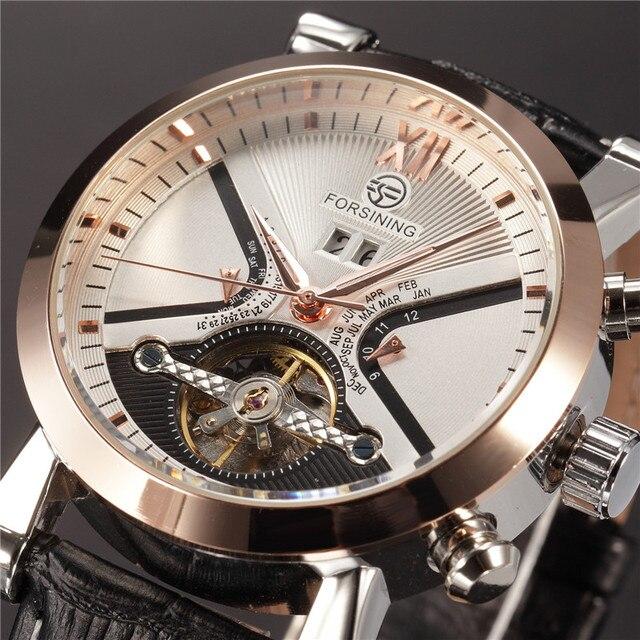 FORSINING Tourbillon Wrap Heren Horloges Automatische Horloge Golden Case Kalender Mannelijke Klok Zwarte Mechanische Horloge Relogio Masculino