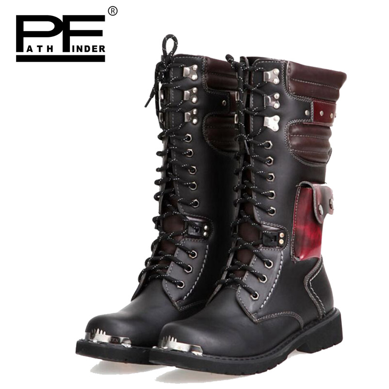 b7c15210793 Pathfinder Men Army Boots High Military Snow Combat Metal Buckle Punk Mid  Calf Male Motorcycle Desert Boots Lace Up Shoes Rock