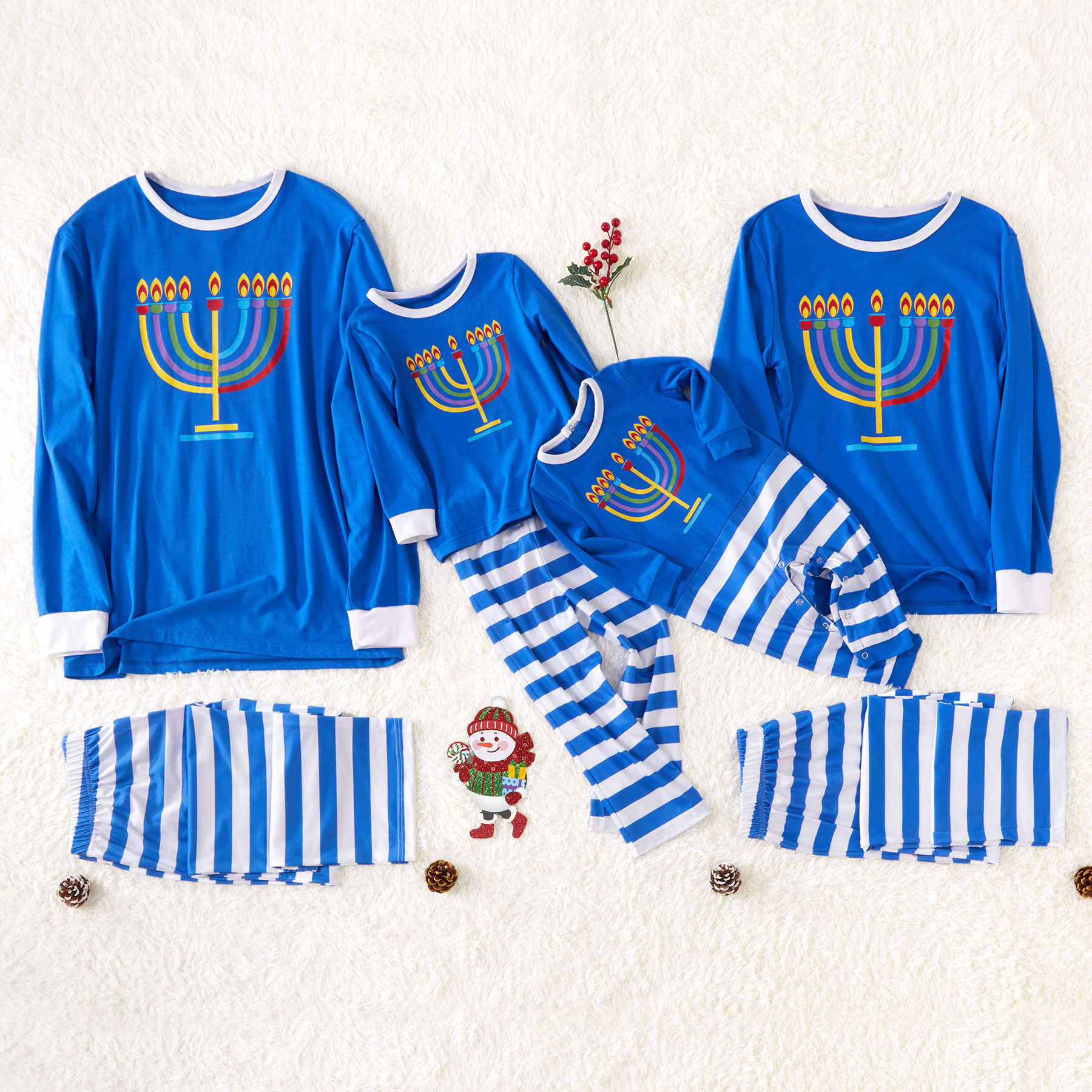 PatPat Autumn Winter Parent-child Hanukkah Candles Family Pajamas Blue Long-sleeved Shirt and Striped Pants Sleepwear