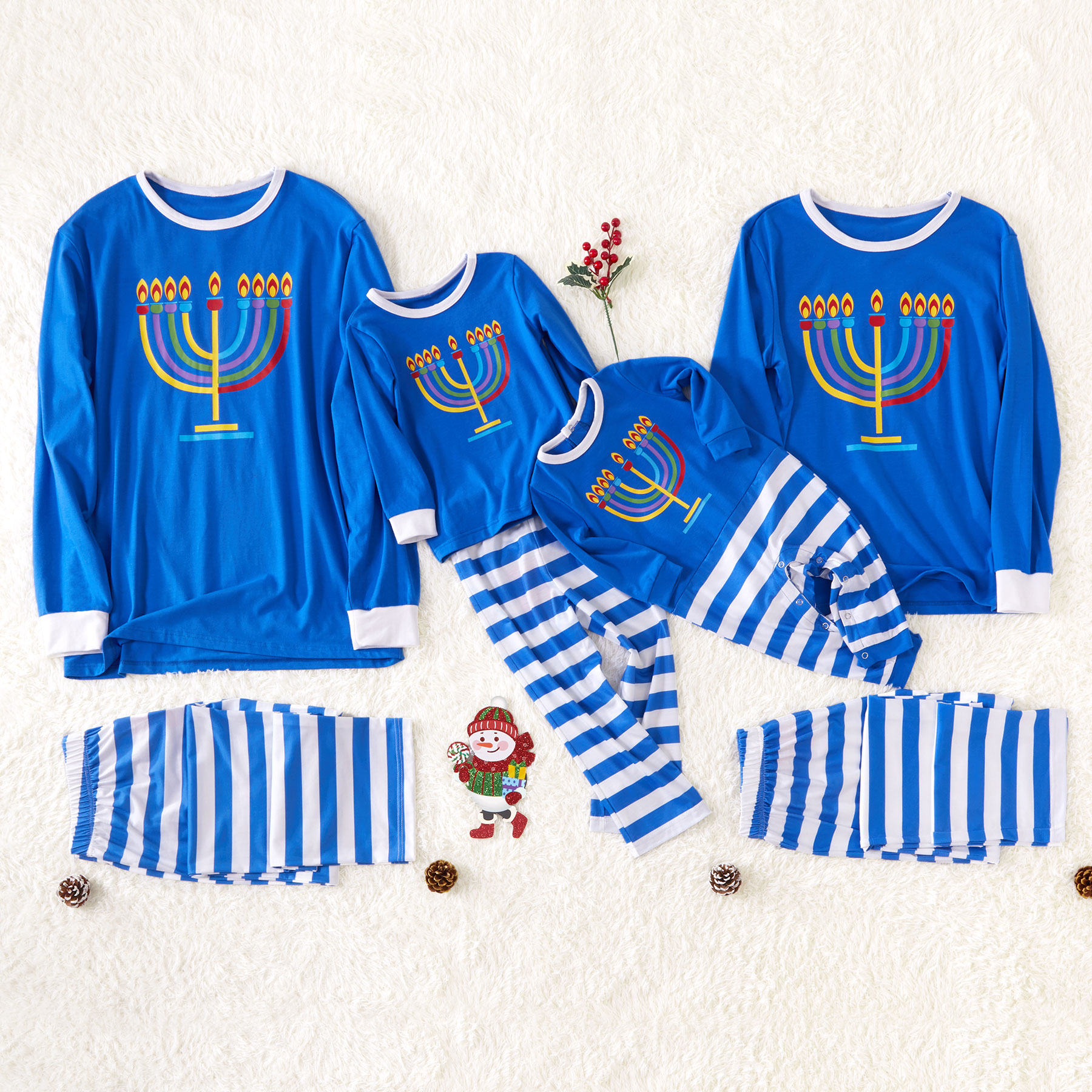 Autumn And Winter New Casual Parent-child Hanukkah Candles Family Pajamas Blue Long-sleeved Shirt And Striped Pants Sleepwear