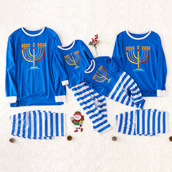 Patpat outono inverno pai-filho hanukkah velas família pijamas azul camisa de mangas compridas e calças listradas pijamas