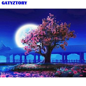 GATYZTORY ไม่มีกรอบพีช Blossom DIY จิตรกรรมภูมิทัศน์ Vintage ภาพวาดสีอะคริลิคบนผ้าใบสำหรับห้องนั่งเล่น