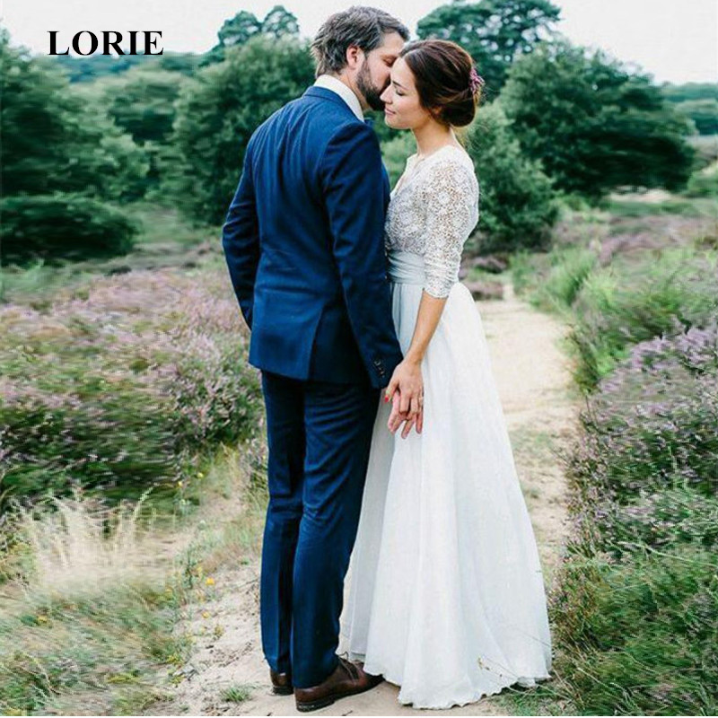 LORIE 2019 Newest Boho Wedding Dress zip up backless Long Sleeves A Line White Ivory Chiffon