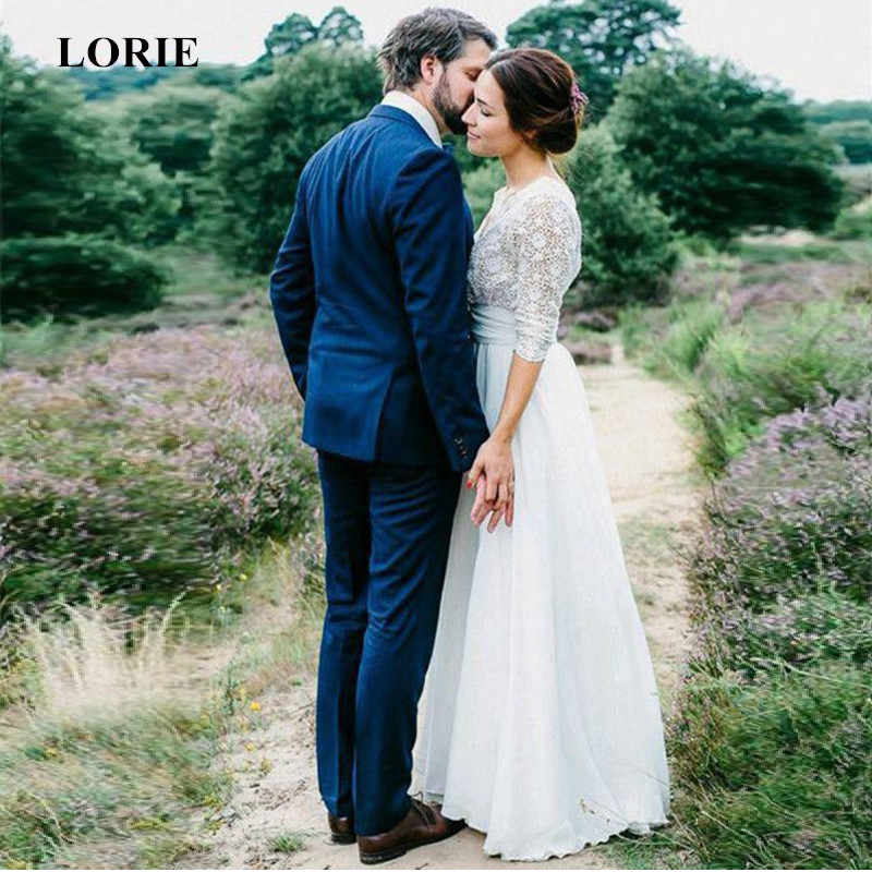 LORIE 2019 Newest Boho Wedding Dress zip up backless Long Sleeves A Line White Ivory Chiffon Lace Princess Beach Wedding Gown