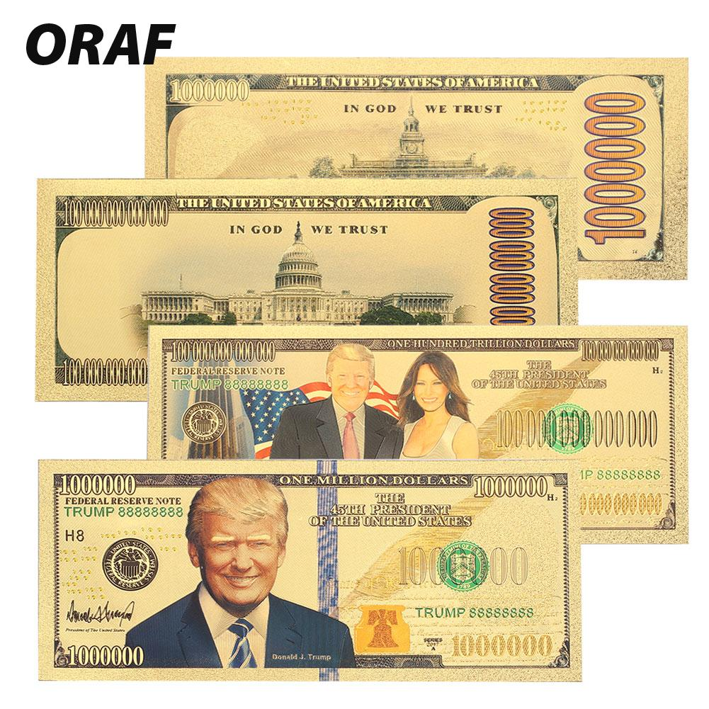 Banknotes 24K Gold Plated Dollars High Quality Gold Antique Plated Fake Money Gifts 1 Billion Trump The First Lady 10 Billion