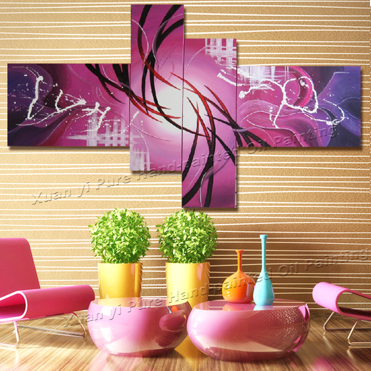 Handpainted Wall Art Peacock Home Decor Modern Abstract Decorative 4 ...