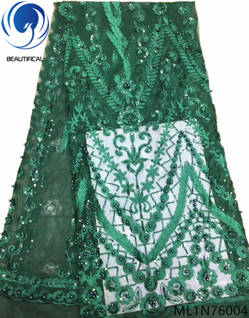BEAUTIFICAL french net lace green lace fabric african french lace fabric high quality 2019 with sequins and beads ML1N760