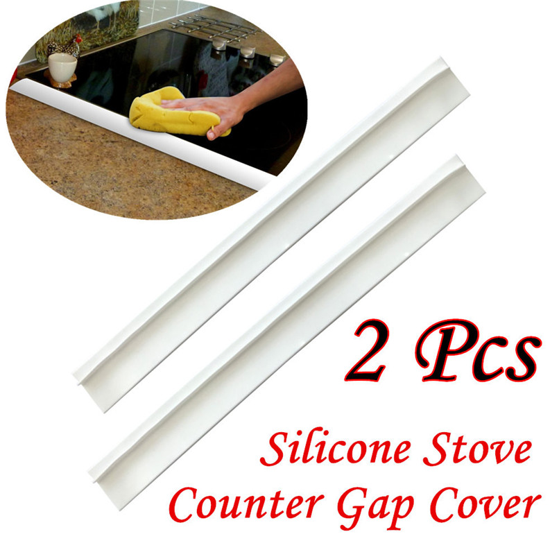 2Pcs Kitchen Silicone Stove Counter Gap Cover Easy Clean Heat-resistant Slit Fill Wholesale Free Shipping 3RB24
