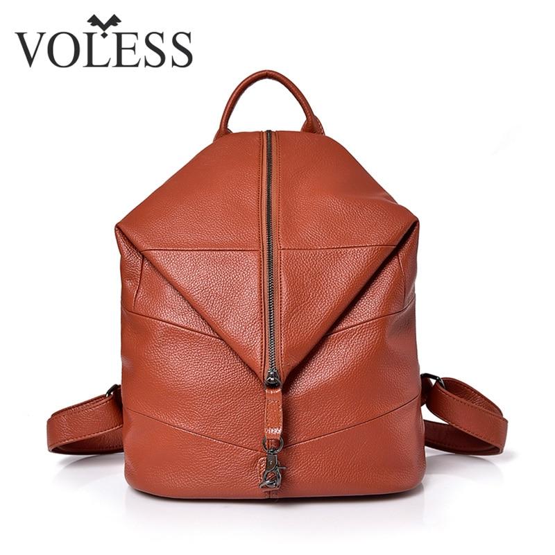 Spring Trendy Fashion Women Sheepskin Zipper Backpack Girls Female Casual Adjustable School Bag genuine leather backpack Women