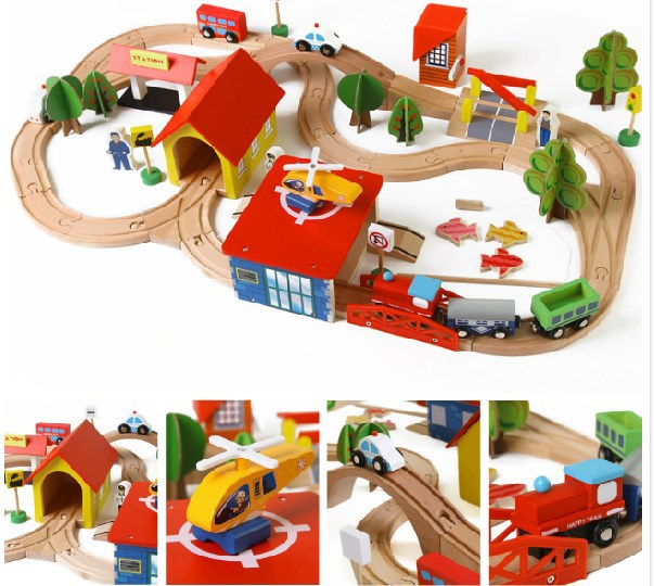 Train En Bois Ensemble Complet De mon mignon petit cars Jouet Moteur de la petite enfance éducatifs toys poni Toys coloré blocs de construction