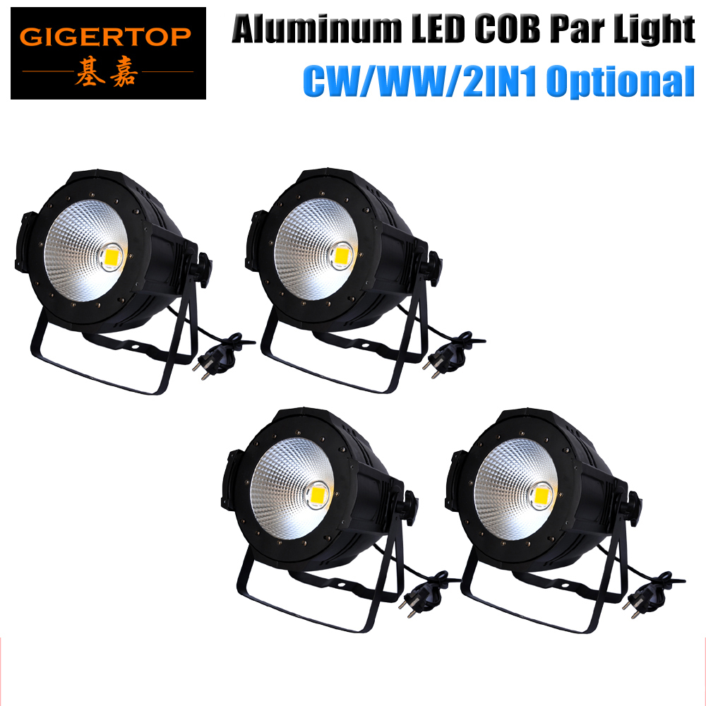 Freeshipping 4PCS COB 100W PAR 56 Spot Wash Light 100V-240V Dimmable Color Changing No Flicker Led Stage Background Projector