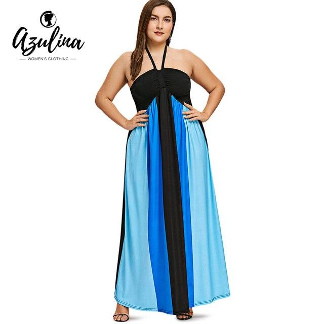 Rosegal Plus Size Empire Waist Halter Flowing Dress Women Summer ...