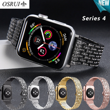 OSRUI Diamond stainless steel strap For Apple watch 4 band 44mm 40mm correa aple watch 42mm 38mm iwatch 3 2 wrist bracelet belt osrui stainless steel for correa apple watch strap 4 44mm 40mm iwatch 3 wrist link bracelet for apple watch band 42mm 38mm belt
