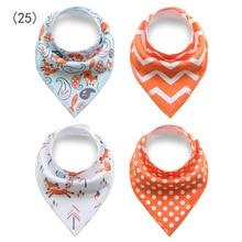 4Pcs Styles Baby Burp Bandana Bibs Cotton Soft Kids Toddler Triangle Scarf Bib Cool Accessories Infant Saliva Towel