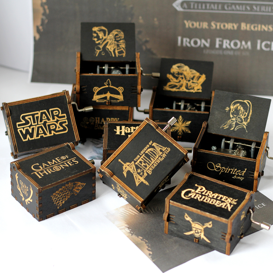 Dropshipping Antique Carved Wooden Hand Game of Throne Star Wars Thrones Music Box Christmas New Year Gift juego de tronos