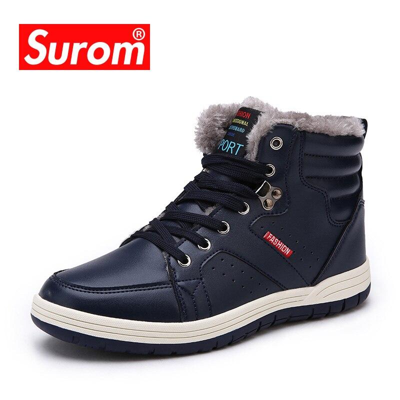 SUROM/2018 г. новые зимние мужские ботинки на шнуровке, хлопковые зимние ботинки для мужчин, Нескользящие плюшевые теплые ботинки, большой разме...