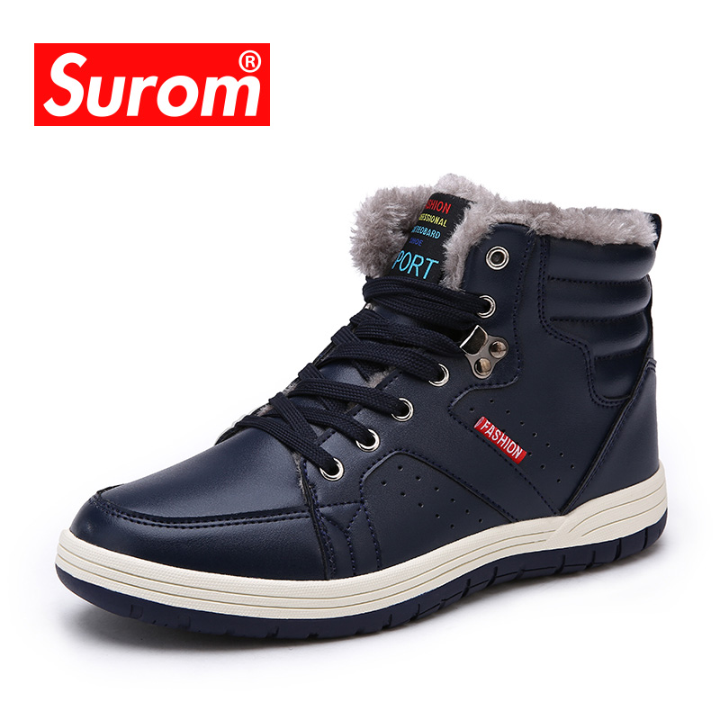 SUROM 2018 Winter New Mens Boots Lace up Cotton Snow Boots For Male Ankle Non slip Plush Warm Safety Shoes Plus Big Size 39-48