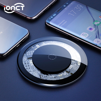 iONCT Qi Wireless Charger for iPhone X XR XS Max 8 Plus Visible USB Charging pad for Samsung S8 S9 Note 9 Phone wirless charger