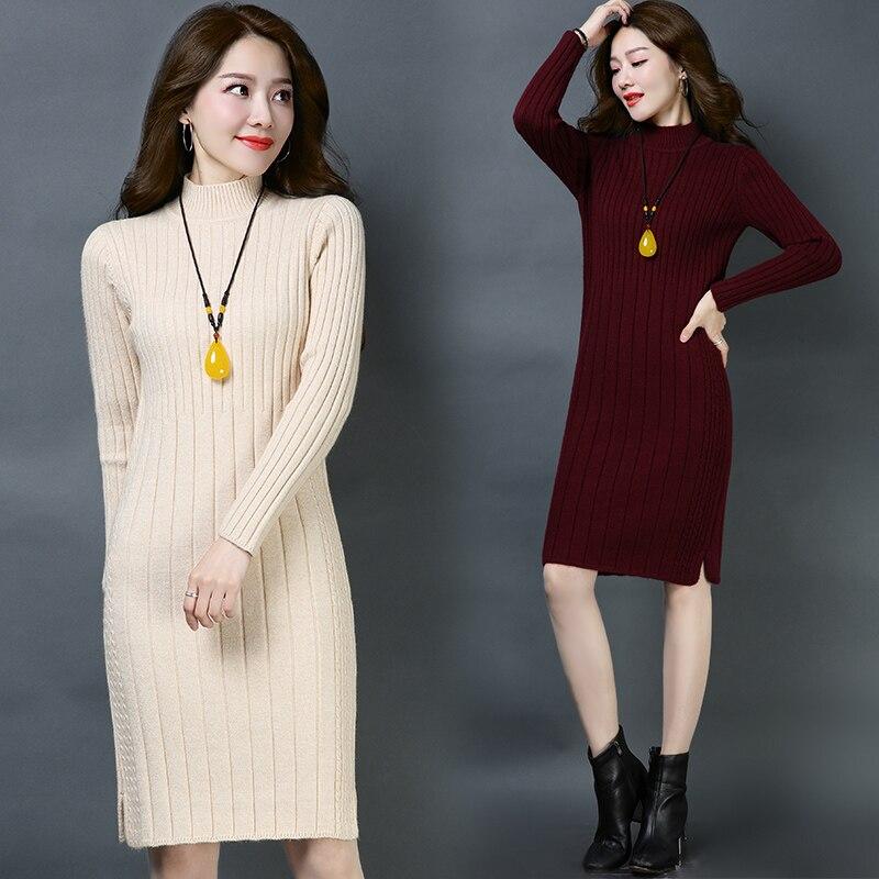 Women thicken Sweaters Dress 2018 Knitting dress Autumn Winter Long Sleeve Warm cashmere Knitted Dresses
