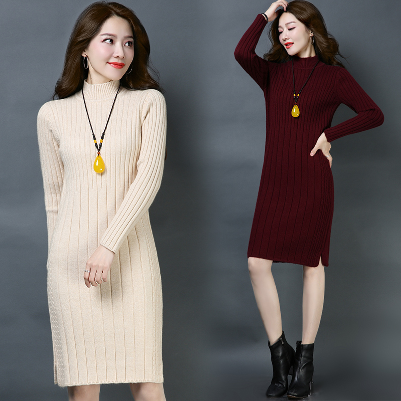 Women thicken Sweaters Dress 2018 Knitting dress Autumn Winter Long Sleeve Warm cashmere Knitted Dresses-in Dresses from Women's Clothing    1