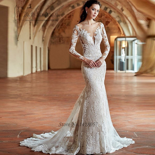 e4dcae305 Vestido de Noiva Sereia Com Manga Church Mermaid Wedding Dresses Open Back  Long Sleeve Lace Bride Dress Greek Renda Wedding Gown
