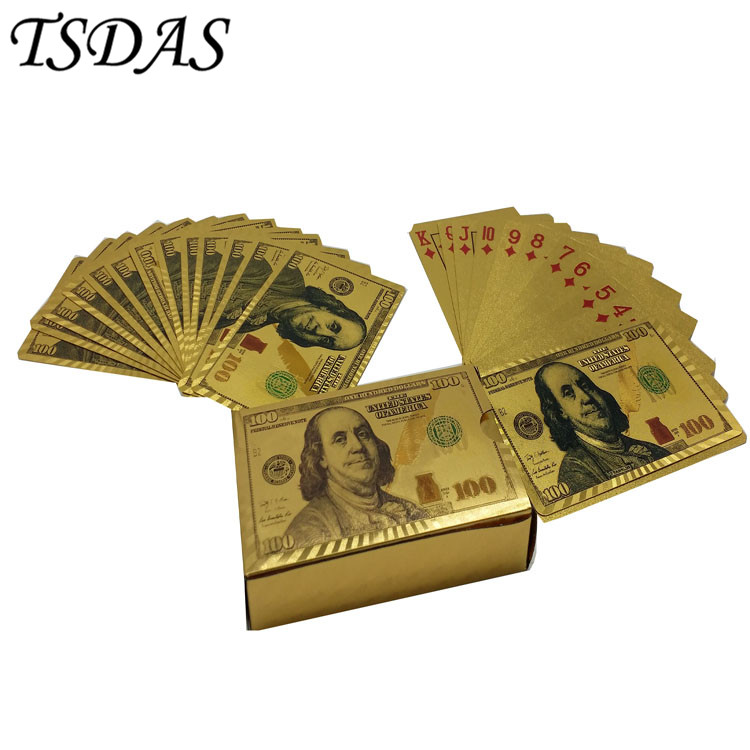 24k Gold Plated Poker Solid Color Playing Cards USD $100