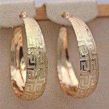 Pendientes de aro Retro para mujeres oro lleno pendiente con patrón gran círculo redondo Retro Metal
