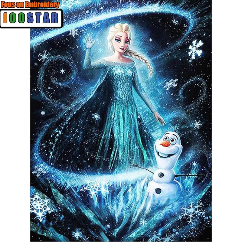 Full Diamond Round/Circle Diamond Painting, Snow Queen, Elsa, Mosaic Rhinestones Diamond Embroidery Thread Crafts