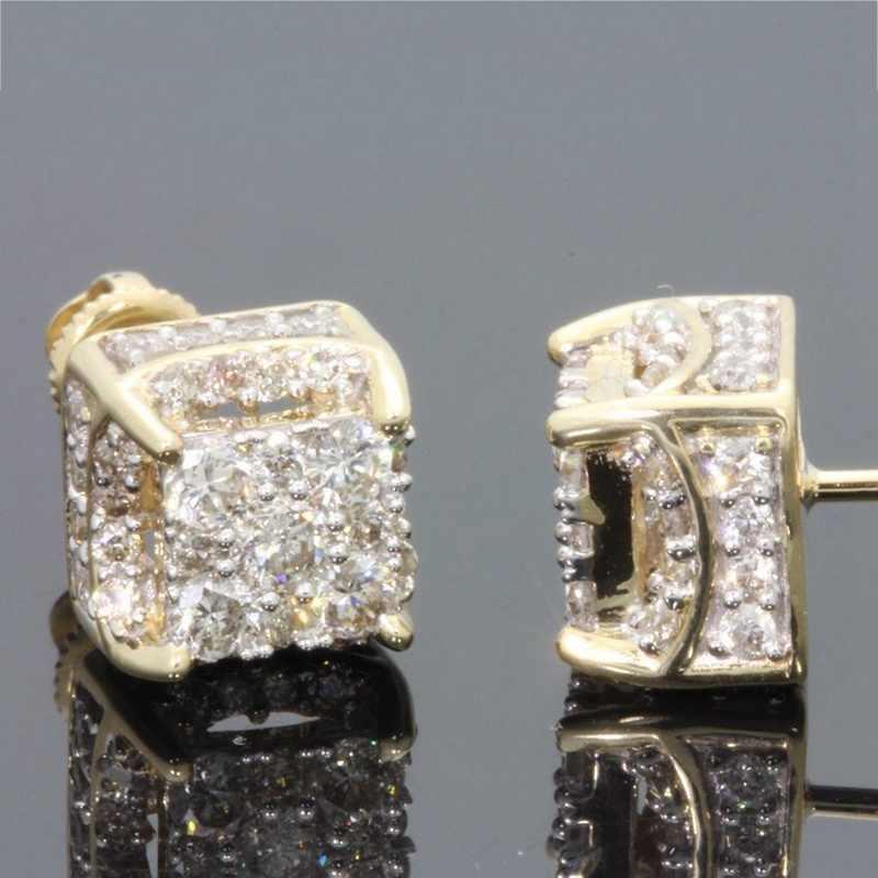 1 para śliczne 18 K żółte złoto kolor stadniny kolczyki dla kobiet złoty moda biżuteria kryształ cyrkon kolczyki prezent