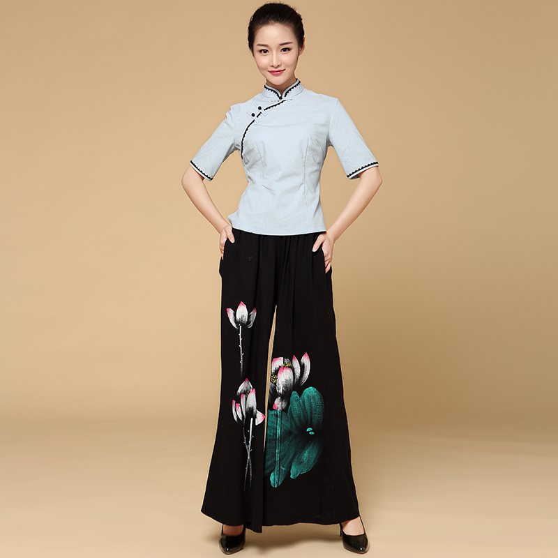 Beauty Clothing Chinese Traditional Style Health Club Work Wear Technician Spa Uniform Women Retro Top+Pants Set Wholesales