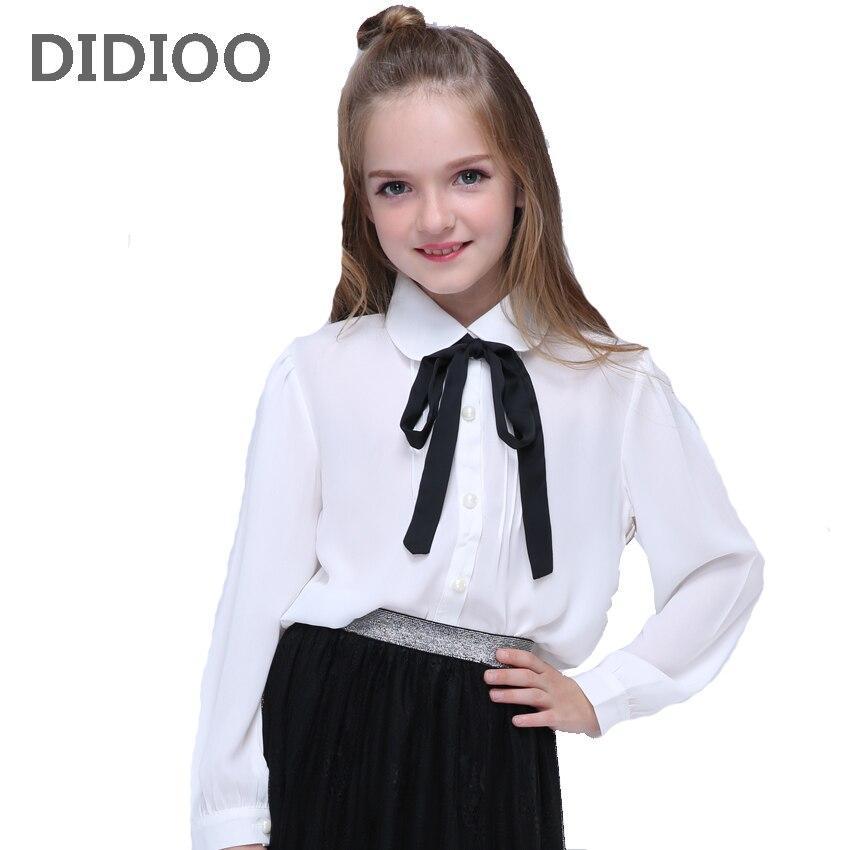 Chiffon meninas Camisas Para Crianças Uniformes Escolares Meninas Brancas Blusas de Manga Longa Crianças Primavera Outono Roupas de Bebê Arco Topos