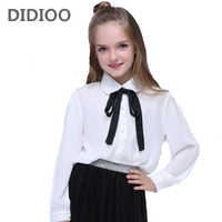 Girls Chiffon Shirts For Children School Uniforms Long Sleeve Toddlers Girls White Blouses Spring Autumn Bow Baby Clothes Tops