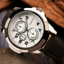 купить YAZOLE Original Fashion Men Sports Watches 30m Waterproof Leather Luminous Quartz Wrist Watch For Men Watch Relogio Masculino по цене 422.05 рублей