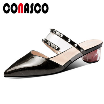 CONASCO Women Fashion Pumps 2019 New Genuine Leather High Heels Rivet Decoration Pointed Toe Summer Sandals Party Shoes Woman