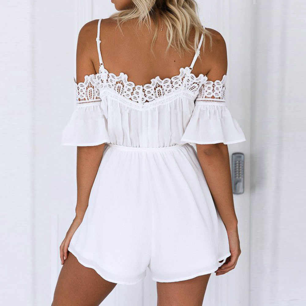 ec88a20f7b37 ... White Jumpsuit Summer Women Off Shoulder Strapless Sexy Romper Women s  Casual Beach Bodycon Jumpsuit Short  Zer. Sale! 🔍. Clothing ...