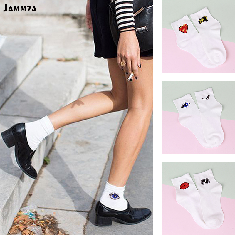 Women korea fashion cartoon   socks   cotton street Art vintage eyes lips heart print   socks   casual Solid white design style New sox