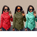 2017 hot Down jacket women winter warm down Cotton-padded Coat irrgeular high collar with belt parkas outerwear coats plus size