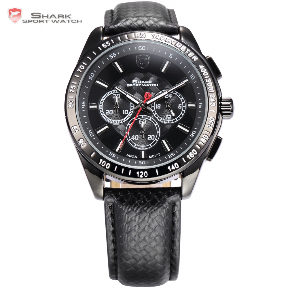 Frilled Shark Sport Watch 24 hours Display Relogio Black Chronograph Dial Leather Strap Quartz Military Wrist Men Clock / SH225 new shark sport watch men yellow luminous scale dual time lcd display black leather strap tag quartz digital wrist clock sh135