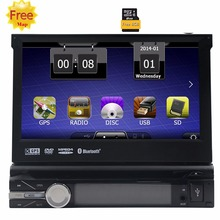 Car Electronic 1din Car DVD Player GPS Navigation 7 inch 1 din Car Radio In Dash Stereo Video+Free GPS Map+steering wheel contro