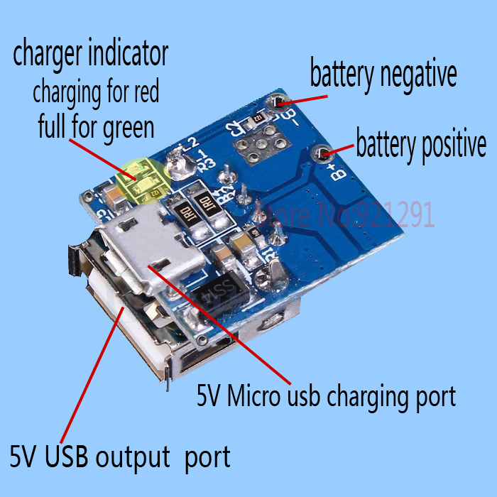5pcs/lot! 5V Lithium Battery Charge Discharge Protection Integration Board Boost Voltage Module