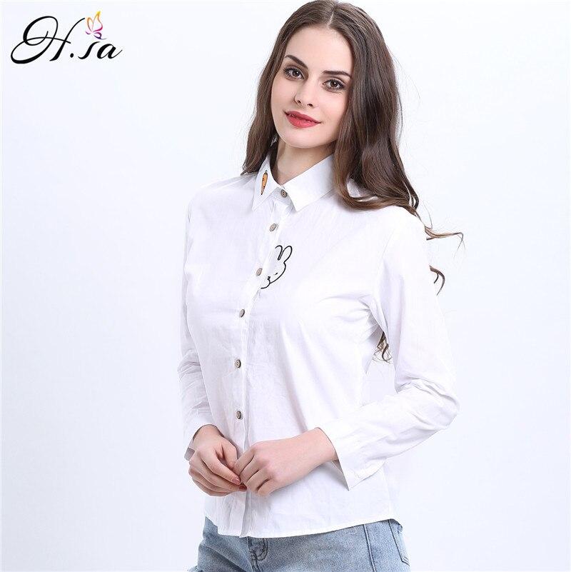 H.SA 2017New Spring Fashion Embroidery Blouses Shirts Cartoon Rabbit Long Sleeve Striped Blouse Women Shirts stripe shirt Cotton