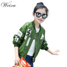2017 Spring Autumn Bomber Jackets for Girls Army Green Girls Coats and Jackets Children's Zipper Windbreaker Outwear Clothes